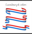 set of three ribbons with the luxembourgish tricol vector image vector image