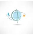 simple planet symbol with moon and sun vector image