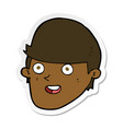 sticker of a cartoon man with big chin vector image vector image