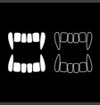 vampires teeths icon set white color flat style vector image vector image