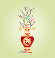 Vase with branch pussy willow and easter eggs vector image vector image