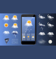 weather forecast widget app realistic vector image