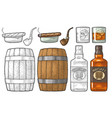 whiskey glass with ice cubes barrel bottle and vector image