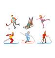 winter sport activities set different people vector image vector image