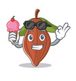with ice cream cacao bean character cartoon vector image vector image