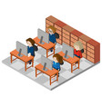 3d design for office workers working in office vector image