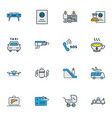 airport icons colored line set with passport vector image vector image