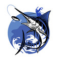 blue marlin fishing design vector image vector image