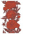 border with red peonies isolate on a white vector image