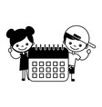 boy and girl with calendar school vector image