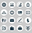 business icons set collection of work man earth vector image vector image