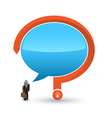 Business man 3D icon with speech and question mark vector image vector image