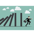 Businessman run away domino effect vector image vector image