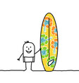 cartoon man with patterned surfboard vector image