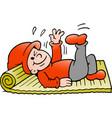 cartoon of an happy elf there doing gymnastics vector image