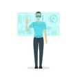 cartoon virtual reality man with futuristic vector image vector image