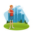 character woman young standing grass city vector image