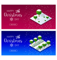christmas trees forest vector image vector image