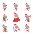 collection cute mouse in christmas santa claus vector image vector image