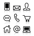 Contact web icons set vector image