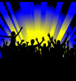 crowd cheerful people silhouettes dancing at party vector image