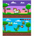 dinosaur unicorn pixel game pixelated graphics vector image vector image