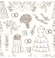 Doodle wedding seamless pattern for invitation
