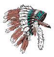dotwork style hat with indian feather grunge vector image vector image