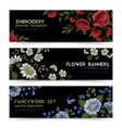 floral folk embroidery banners set vector image vector image