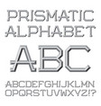 gray faceted letters prismatic retro font vector image
