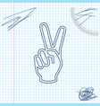 hand showing two finger line sketch icon isolated vector image