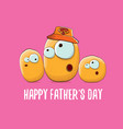 happy fathers day greeting card with cartoon vector image