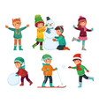 happy kids winter activities children playing vector image vector image