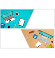horizontal banners of top view workplace office vector image vector image