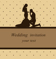 Invitation card with newlyweds in vintage style