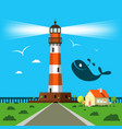 lit lighthouse cartoon with house and whale vector image vector image