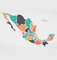 mexican map with states and modern round shapes vector image vector image