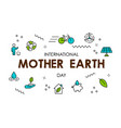 mother earth day card of green eco line icons vector image