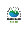 mountain river logo template vector image