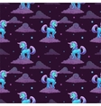 Pattern with little cartoon blue unicorn vector image