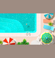 pool and lounges with umbrellas vector image
