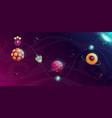 rocket space trip concept galaxy game design vector image vector image