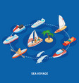 sea voyage isometric composition vector image