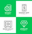 set money and bank cash diamond coin logo or vector image vector image