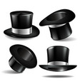 set of black magician cylinder hats vector image vector image