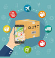 shipping parcel gps tracking order flat design vector image vector image