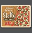 stelle pasta retro poster for italian cuisine dish vector image