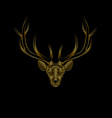 stylized golden deer on black background portrait vector image vector image