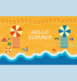 summer beach with waves and beach accessories vector image