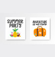 summer cards set colorful posters with hand vector image vector image